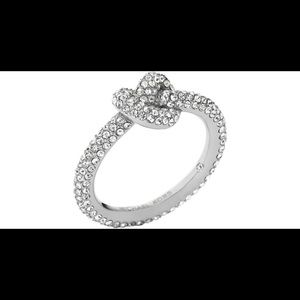 Michael Kors metallic Pave Knot Ring Silver 7